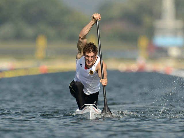 Sebastian Brendel of Germany competes in the Men's Canoe Single (C1) 200m Sprint Final B on Day 15 of the London 2012 Olympic Games at Eton Dorney on August 11, 2012