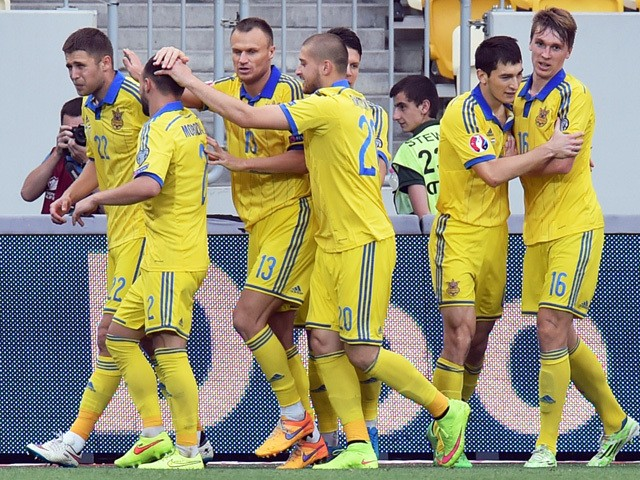 Ukraine's players celebrate scoring a goal during the UEFA Euro 2016 qualifying Group C football match between Ukraine and Luxembourg in Lviv on June 14, 2015