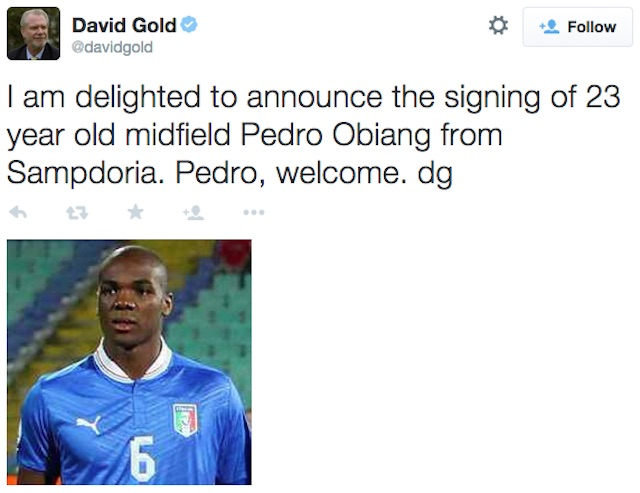 A screenshot of David Gold's tweet with a picture of Angelo Ogbonna