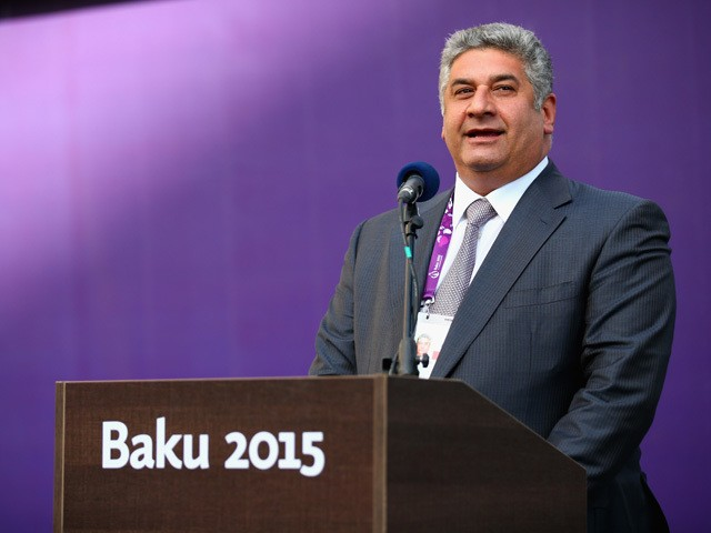 Azad Rahimov, Minister of Sports for Azebaijan talks to the athletes during the arrival of the Torch for the Athletes Welcome Ceremony in the athletes village ahead of the start of the 1st European Games on June 11, 2015