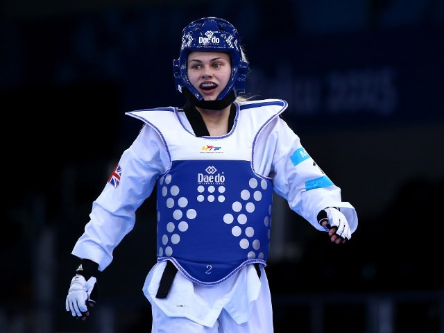 Team GB taekwondo player Charlie Maddock looks pleased en route to the final of the women's -49kg even at the European Games in Baku