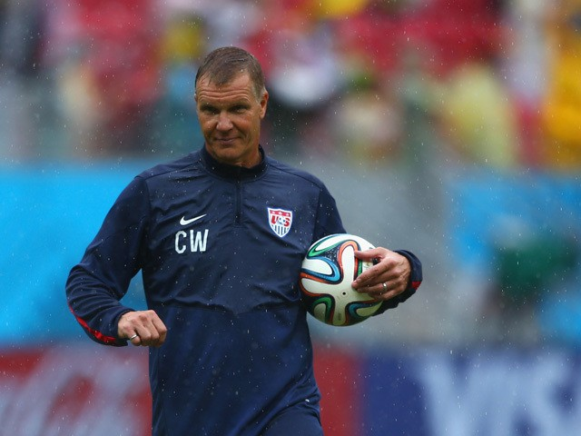 Goalkeeper coach Chris Woods of the United States looks on prior to the 2014 FIFA World Cup Brazil group G match between the United States and Germany at Arena Pernambuco on June 26, 2014