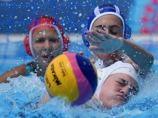 GB's Danica Brazier battles for the ball with Hila Futorian of Israel at the European Games on June 15, 2015