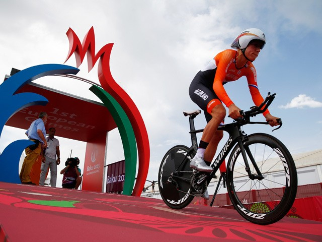 Ellen Van Dijk of The Netherlands competes in the Women's Road cycling Individual Time Trial during day six of the Baku 2015 European Games at Bilgah Beach on June 18, 2015
