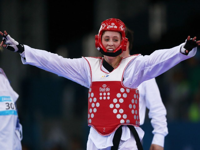 Jade Jones celebrates after winning gold at the 2015 European Games in Baku on June 17, 2015