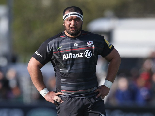 James Johnston of Saracens looks on during the Aviva Premiership match between Saracens and Leicester Tigers at Allianz Park on April 11, 2015