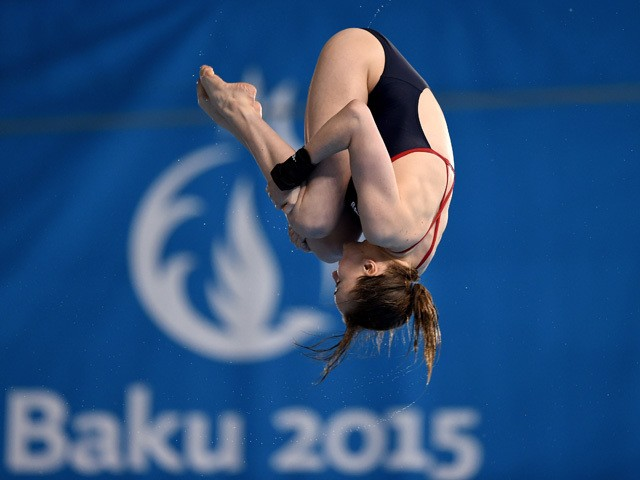 Lois Toulson of Great Britain competes in the Women's Diving Platform Final during day six of the Baku 2015 European Games at the Baku Aquatics Centre on June 18, 2015