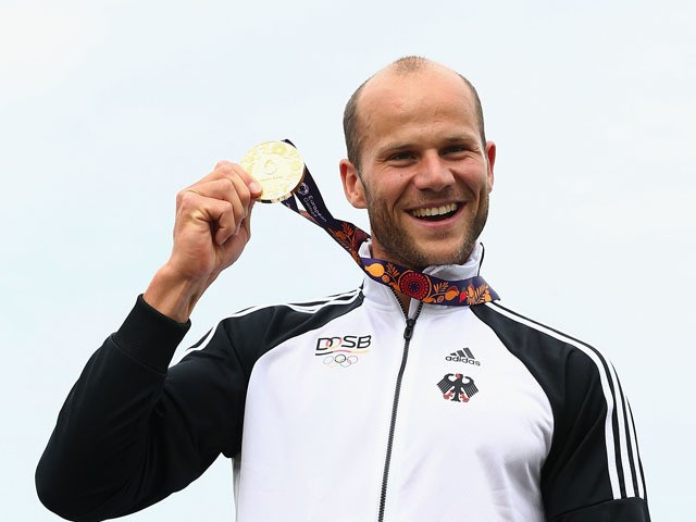 Max Hoff of Germany wins Gold in the Final A Kayak Single (K1) 1000m Men during day three of the Baku 2015 European Games at Mingachevir on June 15, 2015