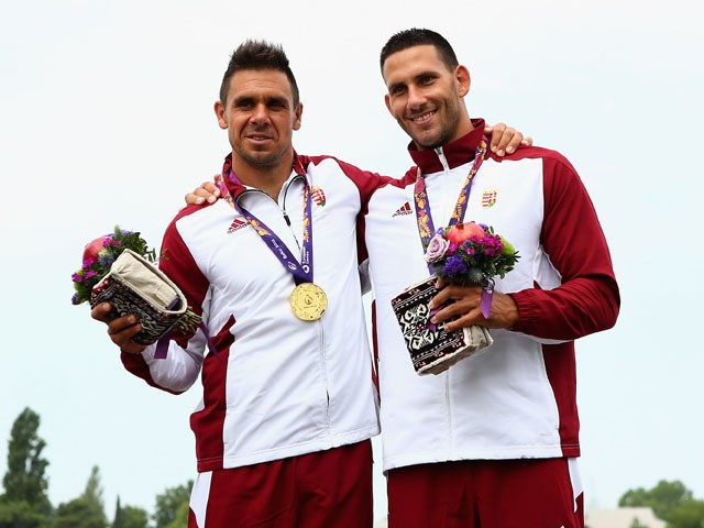 Zoltan Kammerer and Tamas Szalai of Hungary win Gold in the Final Kayak Double (K2) 1000m Men during day three of the Baku 2015 European Games at Mingachevir on June 15, 2015