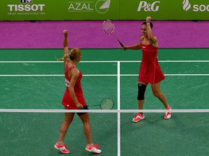 Gabriela Stoeva (L) and Stefani Stoeva of Bulgaria celebrate winning gold in the Women's Badminton Doubles Final against Ekaterina Bolotova and Evgeniya Kosetskaya of Russia during day fifteen of the Baku 2015 European Games at at Baku Sports Hall on Jun