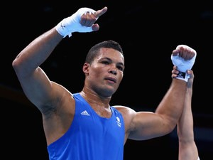 Team GB boxer Joe Joyce celebrates following his win over Moldova's Alexei Zavatin at the European Games in Baku on June 20, 2015