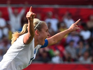 England's Steph Houghton (5) celebrates her score against Norway during their 2015 FIFA Women's World Cup Round of 16 football match at Lansdowne Stadium in Ottawa on June 22, 2015