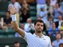 Bulgaria's Grigor Dimitrov celebrates beating Argentina's Federico Delbonis during their men's singles first round match on day one of the 2015 Wimbledon Championships at The All England Tennis Club in Wimbledon, southwest London, on June 29, 2015