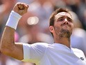 Serbia's Viktor Troicki reacts after beating Germany's Dustin Brown during their men's singles third round match on day six of the 2015 Wimbledon Championships at The All England Tennis Club in Wimbledon, southwest London, on July 4, 2015