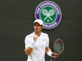 Andy Murray of Great Britain celebrates during his Gentlemen's Singles second round match against Robin Haase of Netherlands during day four of the Wimbledon Lawn Tennis Championships at the All England Lawn Tennis and Croquet Club on July 2, 2015