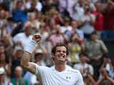 Britain's Andy Murray celebrates beating Italy's Andreas Seppi during their men's singles third round match on day six of the 2015 Wimbledon Championships at The All England Tennis Club in Wimbledon, southwest London, on July 4, 2015
