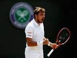 Stanislas Wawrinka of Switzerland celebrates a point in his Gentlemen's Singles Third Round match against Fernando Verdasco of Spain during day five of the Wimbledon Lawn Tennis Championships at the All England Lawn Tennis and Croquet Club on July 3,