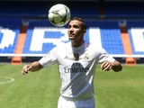 Brazilian Danilo plays with the ball during his presentation as new player of Real Madrid Football Club at Santiago Bernabeu stadium in Madrid on July 9, 2015