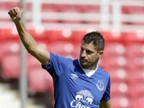 Kevin Mirallas of Everton celebrates after scoring the second goal for his side during the Pre Season Friendly match between Swindon Town and Everton at the County Ground on July 11, 2015
