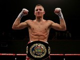 Terry Flanagan poses with the European Lightweight Championship title belt after defeating Stephen Ormond during their WBO European Lightweight Championship bout at Wolverhampton Civic Hall on February 14, 2015