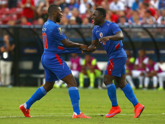 Duckens Nazon #20 of Haiti reacts with Jeff Louis #10 of Haiti after scoring against Panama during the 2015 CONCACAF Gold Cup Group A match between Panama and Haiti at Toyota Stadium on July 7, 2015