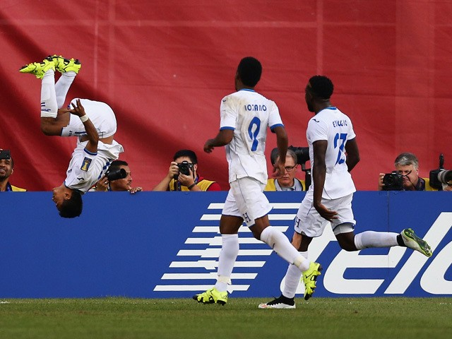 Andy Najar #17 of Honduras does a backflip in celebration of his penalty kick goal during the 2015 CONCACAF Gold Cup match between Honduras and Panama at Gillette Stadium on July 10, 2015