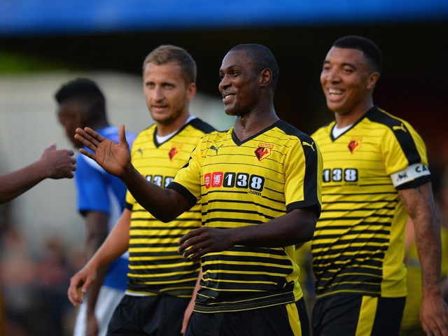Odion Ighalo of Watford celebrates scoring their second goal during the Pre Season Friendly match between St Albans City and Watford at Clarence Park on July 8, 2015