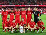 Liverpool FC lines up before the international friendly match between Adelaide United and Liverpool FC at Adelaide Oval on July 20, 2015