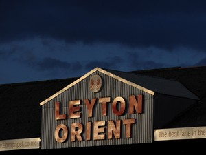 A general view of the Leyton Orient signage prior to the Sky Bet League One semi final second leg play off match between Leyton Orient and Peterborough United at Matchroom Stadium on May 13, 2014