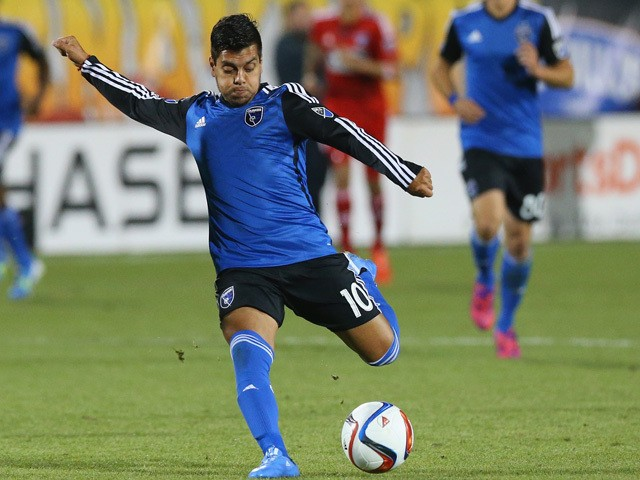 Matias Perez Garcia #10 of the San Jose Earthquakes at Toyota Stadium on March 7, 2015