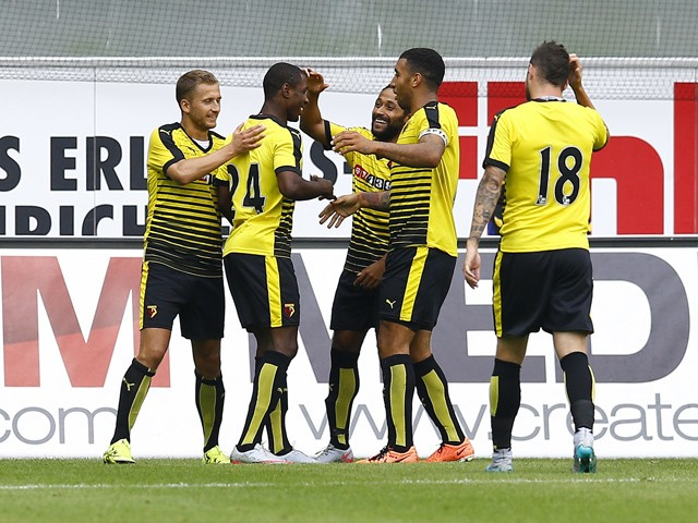 Almen Abdi, Odion Ighalo, Ikechi Anya, Troy Deeney and Daniel Pudil of Watford celebration the Goal 0:2 during the pre-season friendly match between SC Paderborn and Watford FC at Benteler Arena on July 19, 2015