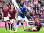 Romelu Lukakau of Everton celebrates scoring his second goal from the penalty spot during a pre season friendly match between Heart of Midlothian and Everton FC at Tynecastle Stadium on July 26, 2015