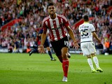 Graziano Pelle of Southampton celebrates after scoring to make it 1-0 during the UEFA Europa League Third Qualifying Round 1st Leg match between Southampton and Vitesse at St Mary's Stadium on July 30, 2015