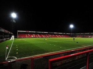 A general view of the pitch prior to the Sky Bet League Two match between Cheltenham Town and Morecambe at Whaddon Road on January 16, 2015