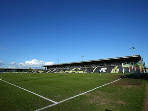 A general view of the ground before the first leg of the Vanarama Football Conference playoff semi-final between Forest Green Rovers and Bristol Rovers at The New Lawn Stadium on April 29, 201