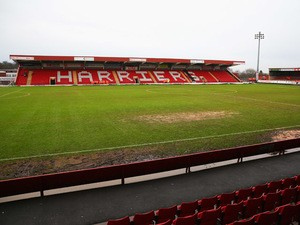 A general view of the pitch prior to the Budweiser FA Cup third round match between Kidderminster Harriers and Peterborough United at Aggborough Stadium on January 4, 2014