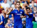 Oscar of Chelsea celebrates scoring his team's first goal uring the Barclays Premier League match between Chelsea and Swansea City at Stamford Bridge on August 8, 2015