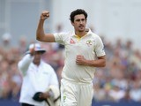 Mitchell Starc celebrates dismissing Joe Root on the second day of the Fourth Test of The Ashes on August 7, 2015