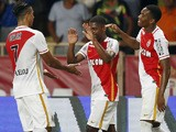Monaco's Portuguese forward Ivan Cavaleiro celebrates with his team mates after scoring a goal during the UEFA Champions League third qualifying round second leg football match between AS Monaco vs BSC Young Boys on August 4, 2015