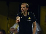 Dortmund's head coach Thomas Tuchel reacts during the UEFA Europa League third qualifying round second leg football match between Borussia Dortmund and Wolfsberger AC on August 6, 2015