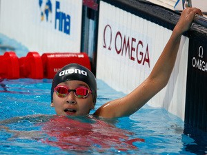 Alzain Tareq of Bahrain looks on after the Women's 50m Freestyle heats on day fifteen of the 16th FINA World Championships at the Kazan Arena on August 8, 2015