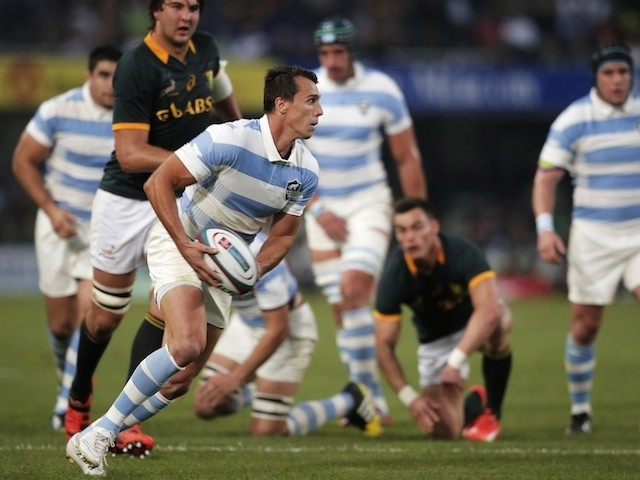 Argentina's full-back Juan Imhoff clears the ball during the Rugby Championship Test match between South Africa and Argentina at Kings Park stadium in JDurban on August 8, 2015