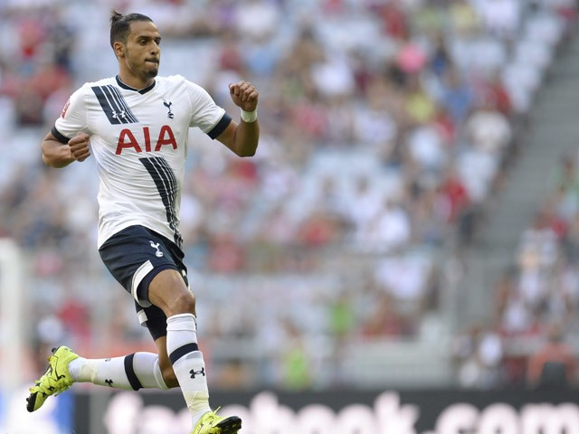 Tottenham's Belgian midfielder Nacer Chadli celebrates after the first goal during the Audi Cup football match for third place Tottenham Hotspur vs AC Milan in Munich, southern Germany, on August 5, 2015