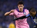Anderlecht's Maxime Colin (L) and Club Brugge's Jose Izquierdo vies for the ball during the Belgian Cofidis cup final game between Club Brugge and Anderlecht on March 22, 2015
