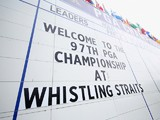 A scoreboard at Whistling Straits ahead of the US PGA Championship on August 10, 2015