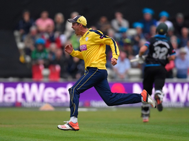 Hampshire fielder Chris Wood celebrates after running out Worcestershire batsman Tom Kohler-Cadmore during the NatWest T20 Blast quarter final match between Worcestershire and Hampshire at New Road on August 14, 2015