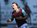Mark Noble of West Ham United celebrates scoring his team's first goal from the penalty spot during the Barclays Premier League match between West Ham United and A.F.C. Bournemouth at the Boleyn Ground on August 22, 2015