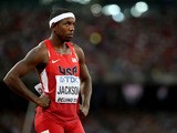 Bershawn Jackson of the United States looks on before competing in the Men's 400 metres hurdles heats during day one of the 15th IAAF World Athletics Championships Beijing 2015 at Beijing National Stadium on August 22, 2015