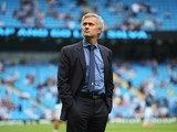 Chelsea boss Jose Mourinho surveys the scene ahead of the game with Man City on August 16, 2015