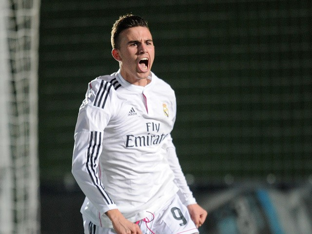 Borja Mayoral of Real Madrid celebrates after scoring Real's opening goal during the UEFA Youth League Round of 16 match between Real Madrid and FC Porto at Estadio Alfredo Di Stefano on February 17, 2015